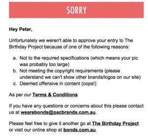 Moderation email for We Are Bonds Birthday Project